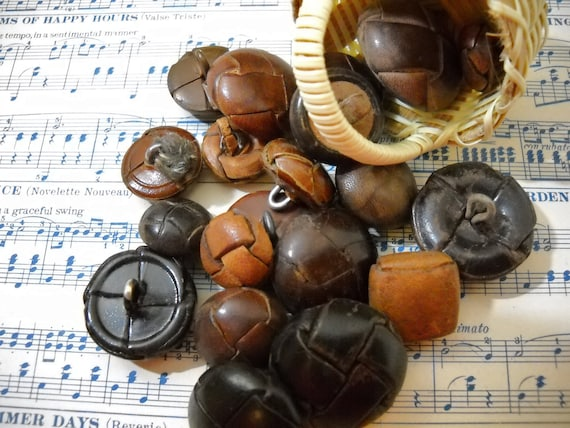 Brown Woven Leather Buttons Yummy Carmel Mocha and Coffee Colors