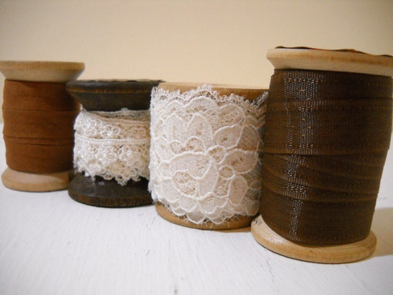 Espresso DIY Kit Brown and White Lace, Ribbon - Inspiration Bundle Over 6 Yards of Trim