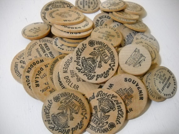Wooden Coins and Nickels 46 Souvenir Items and Advertizing