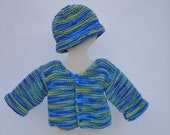Hand-Knitted Cardigan with Matching Hat