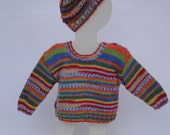 Hand Knitted pullover with matching hat