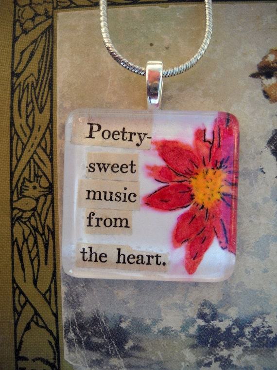 Vintage Poetry Pendant Glass - Watercolor Design
