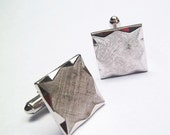 Vintage Anson Cuff Links Silver tone with cross thatch weave brushed finish
