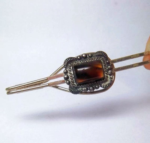 Western style silver tone Tie Clip with big brown stone