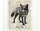 Fox - Vintage DICTIONARY Art Print - 8x10