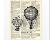 Upcycled Dictionary Print - Hot Air Balloons - Vintage DICTIONARY Art Print - 8x10