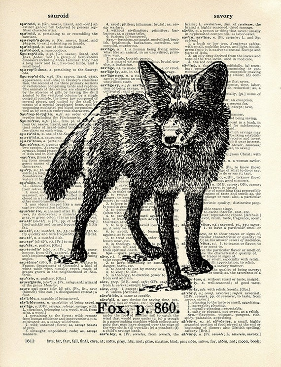 Fox - 13x19 LARGE Archival DICTIONARY Art Print