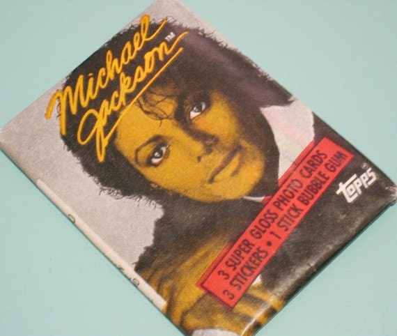 Michael Jackson Sealed Topps 1984 Wax Pack - Set of 3 Photo Cards, 3 Stickers and Gum - Unopened