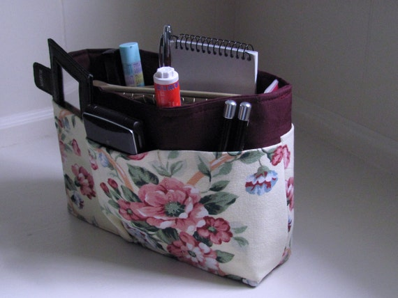 Wine and Roses ....Small Wine and Repurposed Rose Floral Purse Insert Organizer with  solid bottom