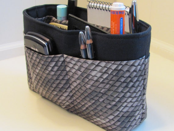 Small Snakeskin and Black Purse Insert Organizer with  solid bottom