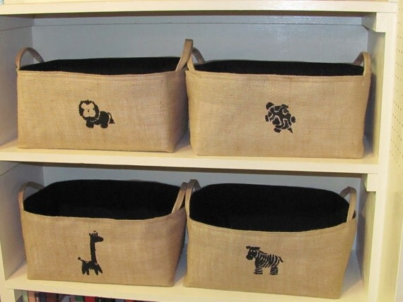4 Burlap Organizer Baskets Totes with Lion, Giraffe, Zebra and Turtle