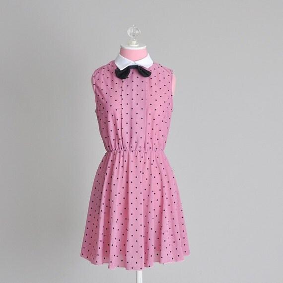 vintage 1980s mauve polka dot dress (s-m)