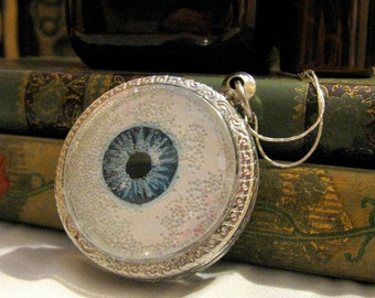 Hand Painted Blue Eye Locket Necklace - Eye See You - Artistry To Alchemy