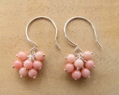 Pink Coral Cluster Earrings,Wire Wrapped, Sterling Silver ,Dangle Earrings