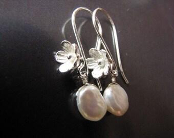 Keshi Sterling Silver Floral Earrings, Drops