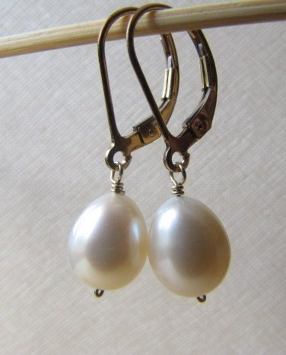 Classic Freshwater Pearl Earrings , Wire Wrapped, Drops