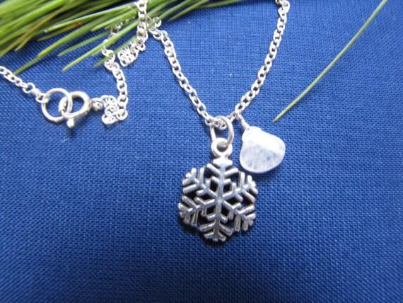 SS Snow Flake Charm & Moonstone Pendant Necklace