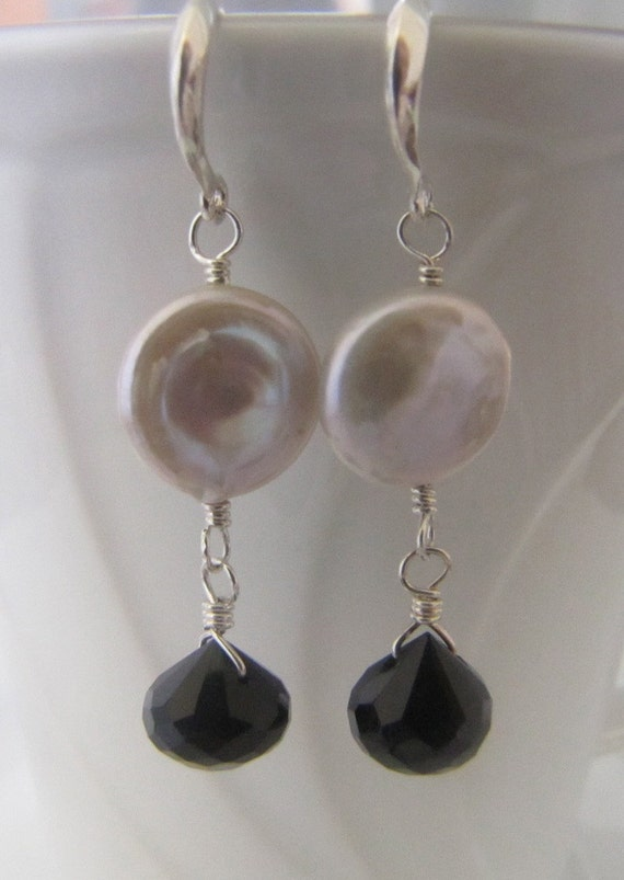 White & Black Dangle Earrings Freshwater Pearl and Black Onyx,Sterling Silver