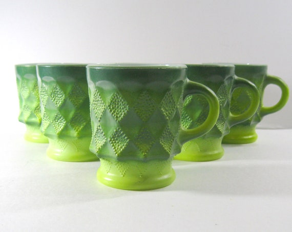Vintage Fire King Ombre Green Kimberly Mugs Set of Six