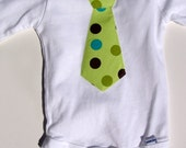 Boys Toddler or Baby White Onesie with Tie Applique In All Sizes