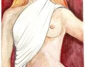 "Nude Art Figure Study ""Blind Justice"" OOAK 6x9 inch watercolor"
