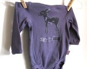 Ready to ship Free shipping D is for Donkey Long Sleeve Infant Faded Purple Onesie 2 to 4 months