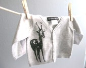 Ready to Ship -Free Shipping - Light Grey Deer Infant Cotton Sweater Size 0 to 1 Month Newborn