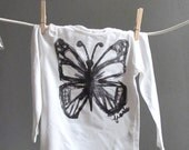 Ready to ship Free Shipping Off White Long Sleeve Girl's T Shirt with Original butterfly Drawing - Size 2 to 4 years