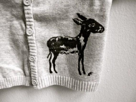 Free Shipping - Light Grey Donkey Infant Cotton Sweater Size 0 to 1 Month Newborn