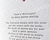 Letterpress Note Card - Love Poetry (Shelley)