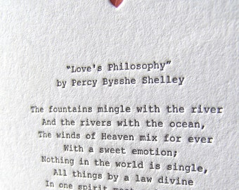 Letterpress Note Card - Love Poetry (Shelley)