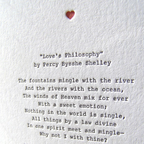 Letterpress Note Card Love Poetry Shelley