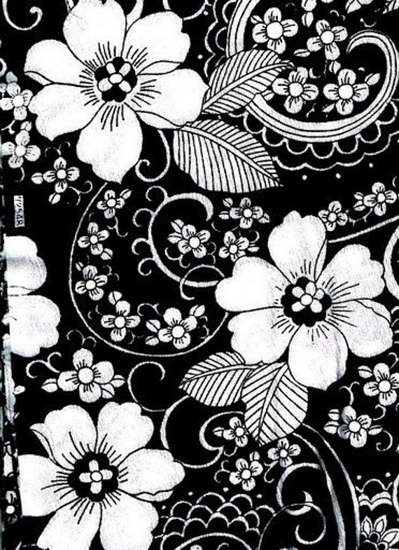 RESERVED for deanwelsh1 - luscious synthetic blend crepe fabric black with white floral print - 2.5 yards
