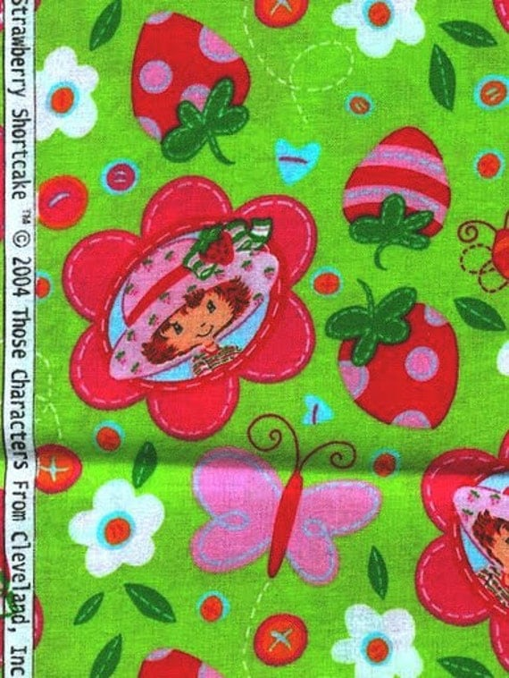 Adorable Strawberry Shortcake cotton fabric - 2004 Cleveland Inc. Spectrix - one yard
