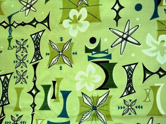 Retro Atomic Barkcloth Fabric Hawaiian Tiki Boomerang Beat