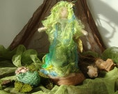Needle felted Mother Earth , Lady spring and her babies