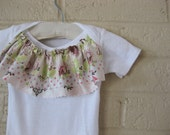 Shabby Chic Ruffle bib Onesie for baby - Limited Edition Fabric, Pick your Size