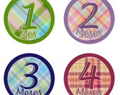 Monthly Onesie Stickers - Baby Tartan ( english - spanish - french ...)