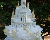 MARISSA'S Cinderella's Castle Cake Topper or Centerpiece - Ivory & Gold - for Weddings, Birthdays, Quinceanera
