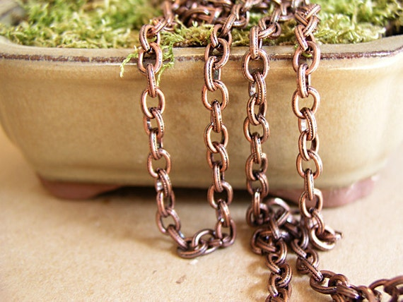 Antique Copper Chain for Jewelry Making and Beading, Link, Links 7.6X6mm Iron 3 Ft (C016)