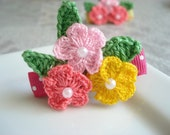 3 in 1- Crochet flower Handmade Alligator Hair Clip ( LightPink And pink,Yellow)