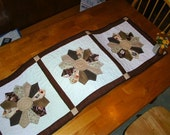 Coffe Print Dresden Table Runner or Wall Quilt