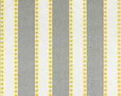 SALE Home Decor Fabric Yardage - Stripes and Dots - Gray and Yellow by Premier Prints - 1 yard