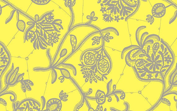 Amy Butler Lark Collection Fabric Yardage - Souvenir - Lemon Yellow  - 1 Yard