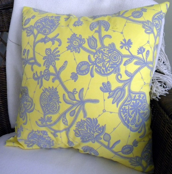 "Amy Butler Lark Decorative Pillow Cover - Souvenir - Lemon Yellow - 18"" Square"