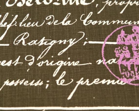 Home Dec Fabric Yardage - Penmanship French Script  - Premier Prints Designer -Dark Taupe. Purple and Ivory- 1 Yard