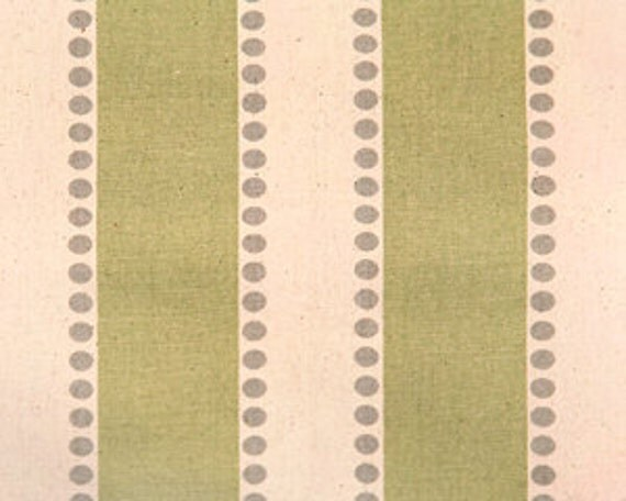 Home Decor Fabric Yardage - Stripes and Dots - Sage Green, Gray and Natural  by Premier Prints - 1 yard