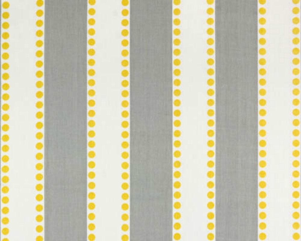 Sale home decor fabric yardage stripes and dots gray and for Home decor yellow and gray