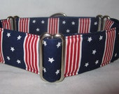 Five Star Martingale Dog Collar - 1.5 Inch - red white blue American Flag Memorial Day July 4th New York America