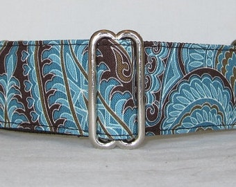 Turquoise Elegance Martingale Dog Collar - 1.5 Inch - brown paisley hazel hearts spring curves